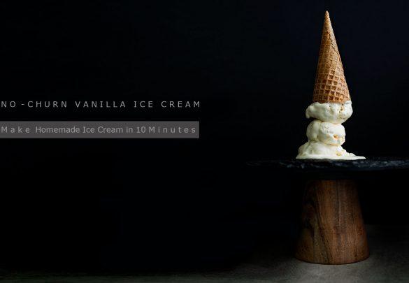 Dark food photography of Vanilla Ice Cream In A Sugar Cone