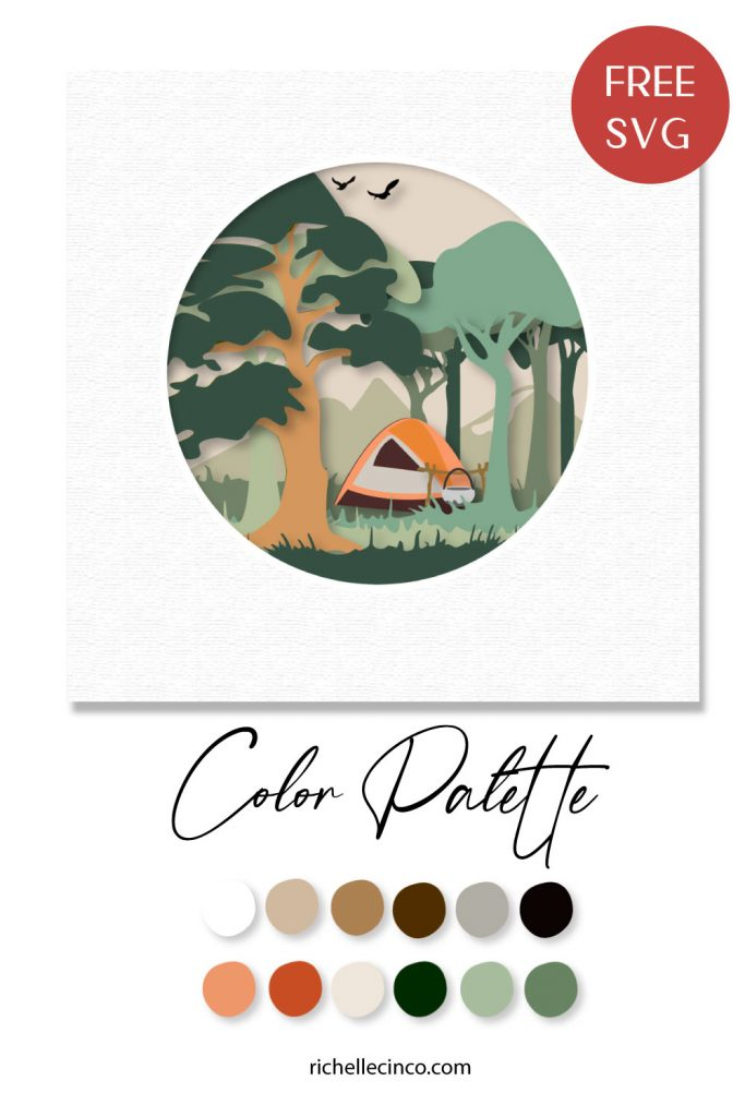 Image of a vector camping scene paper art